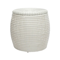 brown rattan side table round