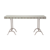 metal concrete studded console table