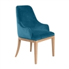 dining chair white cerused oak frame cyan cotton velvet upholstery