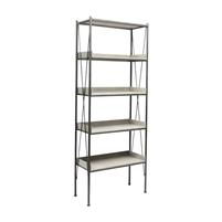 industrial three shelf bookcase metal concrete