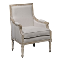 chair seat linen natural wood carved frame white washed seat loose cushion