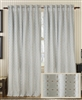 Creative Threads curtain panels drapery cotton/linen blend embroidered gray white gold rod pocket hidden back tabs