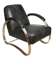 chair seat black leather croc framed chrome contemporary padded seat back armrests
