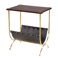 walnut stain brushed gold leather magazine rack table