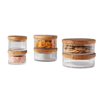 wood natural glass canister