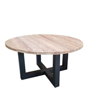 round reclaimed wood dining table black metal base transitional contemporary