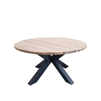 teak iron natural round dining table