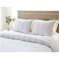 light grey matelasse vertical woven rows blanket pillow shams