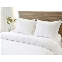white matelasse vertical woven rows blanket pillow shams