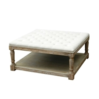 tufted cocktail table ottoman off white wood contemporary