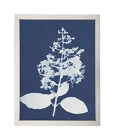 Photography art print white silhouette hydrangea indigo navy background pewter silver frame