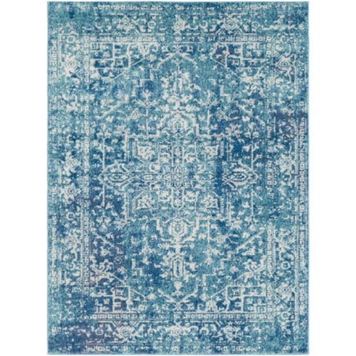 white aqua teal dark blue area rug rectangle