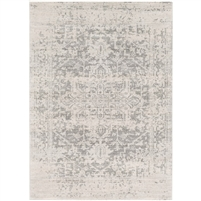 rug area black beige gray faded antique-like border polypropylene medium pile