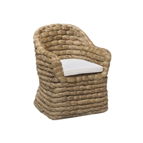 seagrass natural arm chair cushion seat white coastal