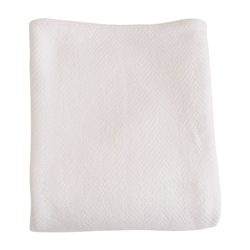 blanket white cotton machine washable pre-washed pre-shrunk herringbone twin queen king woven Maine USA