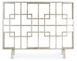 fireplace screen silver iron contemporary modern geometric