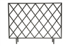 fireplace screen black iron bamboo diamond
