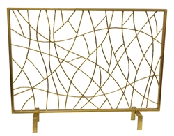 Dessau Home fireplace screen no mesh twigs gold contemporary modern iron