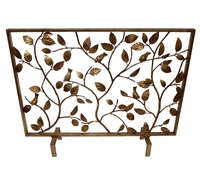 fireplace screen gold branches bird antiqued leaves