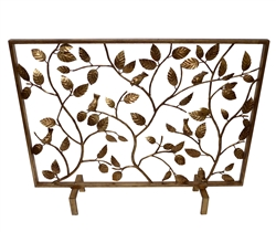 Antique Gold Bird Branch Fireplace Screen - Fire Screen with Branches
