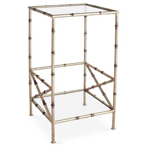 accent table antique silver finish iron bamboo two tier glass shelves