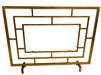 Dessau Home fireplace screen no mesh geometric glass panel center gold contemporary modern iron