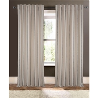 natural ivory black striped curtain drapery panels