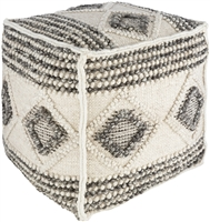 square cube pouf dark gray white diamond knotted
