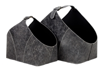 grey leather baskets buckle handles set 2 large small