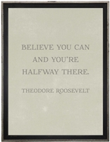 grey background Theodore Roosevelt quote Believe You Can and You're Halfway There