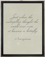 grey background anonymous quote Just when the caterpillar