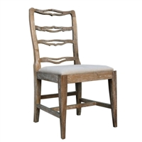 dining chair ladder back cream fabric seat