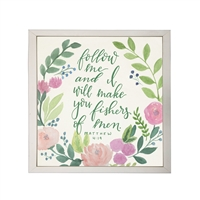 Photography art watercolor pink green floral Matthew 4:19 quote square silver frame