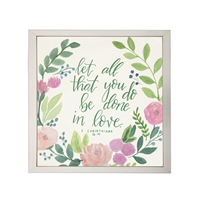 Photography art watercolor pink green floral Corinthians 16:14 quote square silver frame