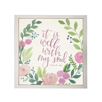 Photography art watercolor pink green floral Psalm 46:1 square silver frame