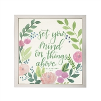 Photography art watercolor pink green floral Colossians 3:2 square silver frame
