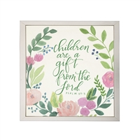 Photography art watercolor pink green floral Psalm 127:3 square silver frame