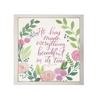 Photography art watercolor pink green floral Ecclesiastes 3:11 square silver frame