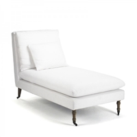 Off White Chaise Lounge - Corey - Casters
