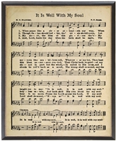sheet music framed black gold bead detail hymn It Is Well With My Soul