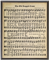 sheet music framed black gold bead detail hymn The Old Rugged Cross