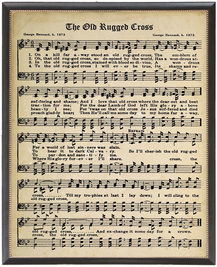 graphic regarding Old Rugged Cross Printable Sheet Music identified as Framed Wall Artwork - Sheet Audio - The Previous Rugged Cross Hymn - Black Body (dimension attributes) by way of Antique Curiosities