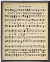 sheet music framed black gold bead detail hymn In the Garden