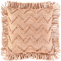 hand-woven pink peach accent pillow with fringe
