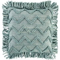 hand-woven aqua accent pillow with fringe