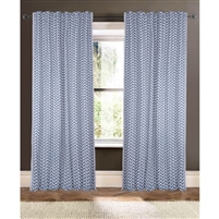 ivory navy blue embroidered detail curtain drapery panels