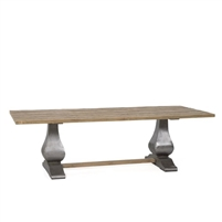 table long rectangle wood teak natural metal gray pedestal curved stretcher transitional