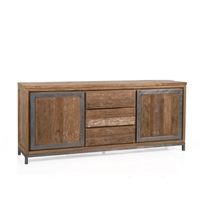 buffet sideboard wood metal natural teak iron cabinets two drawers three four feet transitional rustic farmhouse