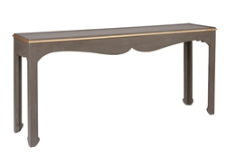 charcoal console table curved detail