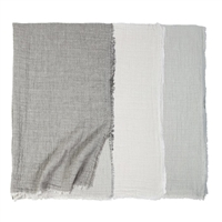 cotton/linen throw fringe oversized two-tone stonewashed cream light grey ocean